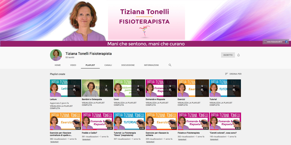 Tiziana Tonelli Fisioterapista canale Youtube
